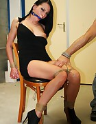 Leonelle chair-tied ballgagged tit-grabbed