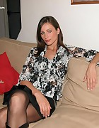 Kyla Cole tied in crotchless pantyhose