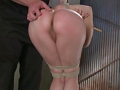 Bonnie begins her day tied, spread in a chair with her head in our two way..
