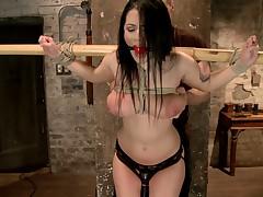 Super Hot bondage starlet Katrina Jade brings her all natural double H tits to..