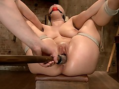 Super Hot bondage starlet Katrina Jade brings her all natural double H tits to..