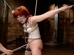 Beautiful 18 year old Sadie Kennedy is tied tight, gagged, bent over and..