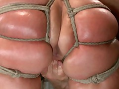 Big Ass Blonde MILF Mellanie Monroe brings her beautiful curves to HogTied for..