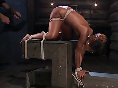 Chanell Heart begins with her legs spread and her arms pulled over her head...