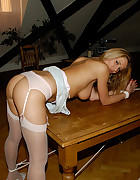 Blonde tied and bend over