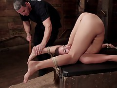 Tall, long legged all natural beauty Rilynn Rae is back on HogTied for her..