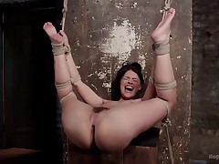 Ava Dalush finds herself tied with her hands above her head and her legs..