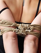 Iveta hogtied tapegagged on the swinging couch, pic #10