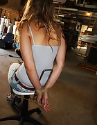 Iveta chair-tied ballgagged tit-grabbed, pic #3