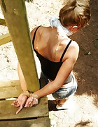 Hottie tied and cleavegagged outside burning in the hot sun, pic #6