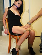 Leonelle chair-tied ballgagged tit-grabbed, pic #12