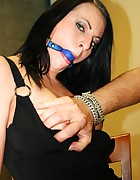 Leonelle chair-tied ballgagged tit-grabbed, pic #8