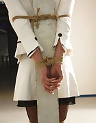 Adrienne pole-tied and ballgagged, pic #6