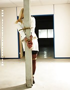 Adrienne pole-tied and ballgagged, pic #7